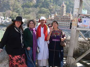 Rachael, second from left, with new friends in Hardiwar.