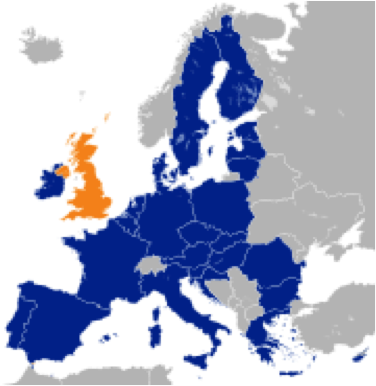 The United Kingdom in orange, the European Union in Blue – Graphic: Wikipedia