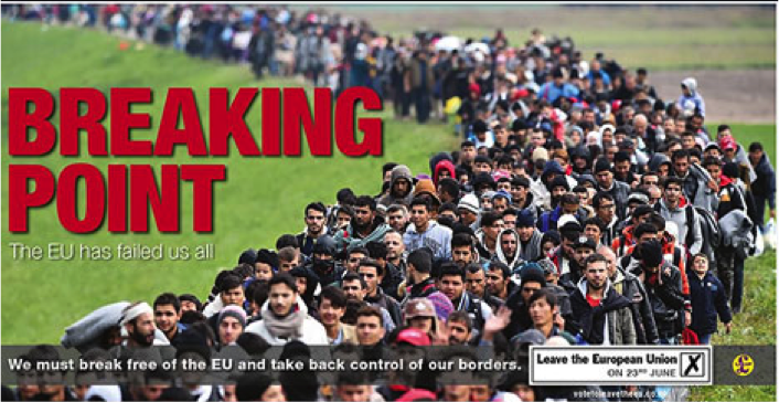 "The ""Breaking Point"" poster commissioned by Brexit-favoring UKIP party."