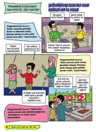 In a cartoon from Turkey's Ministry of Religion, a father encourages his children to become martyrs. – Photo: Twitter, @TurkeyUntold
