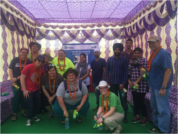 McMurry students with the Indian interns they joined on the Habitat for Humanity team in Delhi – Photo: McMurry University