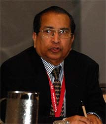 Dr. Wesley Ariarajah, a global leader in building healthy relations between Christians and followers of other traditions, at last month's AAR meetings.