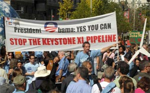 Ted Glick protesting the Keystone XI Pipeline.