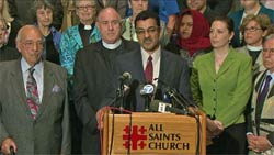 Salam al-Marayati, president of the Muslim Public Affairs Council, appears at All Saints Church in Pasadena Tuesday to address hate mail the church has received in advance of hosting an MPAC gathering. Photo: KTLA Television