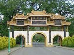 The main gate into the City of 10,000 Buddhas in northern California.