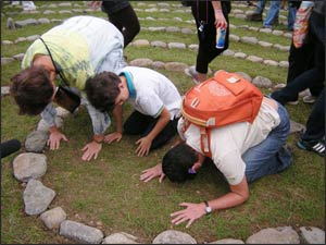Prayers at the center of the Labyrinth.