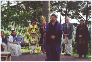 Don, in purple robes, participates in an interfaith ritual 20 years ago in Berkeley.