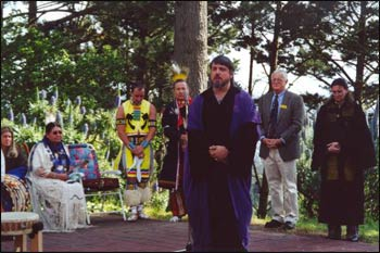 Don Frew, in the purple robe, participates in an interfaith ceremony in Berkeley, California.