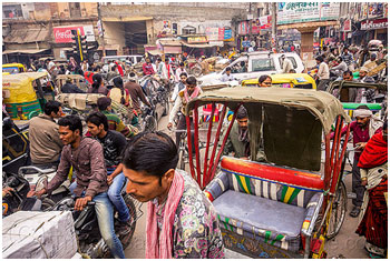 Everyday traffic in Varanasi can be intimidating.   – Photo: Tristan Savatier