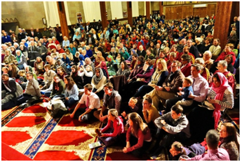 More than 500 attended the 6th annual World InterFaith Harmony Assembly in Syracuse, New York, held at the new Mosque of Jesus, Son of Mary, once the home of a Catholic parish. – Photo: Syracuse.com