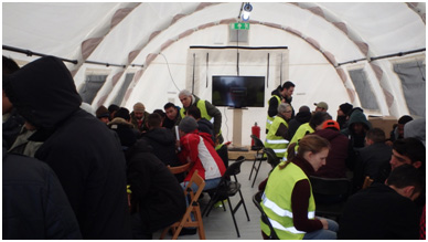 Lessons in Swedish at a refugee camp in Lund  – Photo: BW
