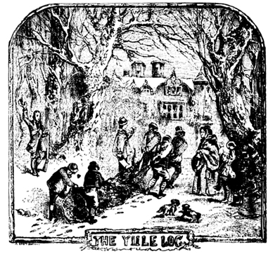 "Hauling in the ""Yule Log"" (1832) by Robert Chambers – Graphic: Wikipedia"