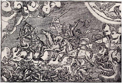 The Four Horsemen of the Apocalypse bring thunder and death to the Earth in Revelation, depicted in this wood-carving called Apokalipsys (1764) by Master Prokopii – Graphic: Encyclopedia of Ukraine