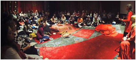 A workshop being held in the Women's Sacred Space, designed by the Red Tent Movement. – Photo: Guiliana Serena