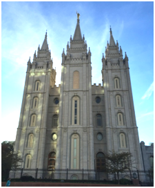 The Mormon Temple, caught in the late afternoon is the centerpiece of Temple Square. – Photo: TIO