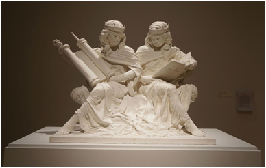 """""""Synagoga and Ecclesia in Our Time"""" by sculptor Joshua Koffman. A bronze cast version of this image was blessed by Pope Francis at St Joseph University in September 2015. – Photo: Wikipedia, Joshua Koffman"""