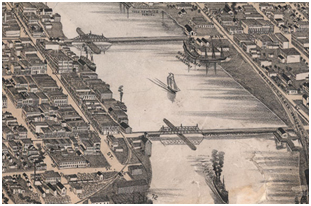 An 1893 etching of Green Bay, Wisconsin, a city with the Fox River running through it. Photo: City of Green Bay.