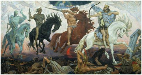 """Four Horsemen of the Apocalypse"" (1887) by Viktor Vasnetsof, was inspired by The Revelation of John. – Photo: Wikipedia"