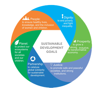 The Sustainable Development Goals documents are extremely detailed about the challenge ahead, but the six arenas in this wheel summarize the whole project. – Photo: UN.org