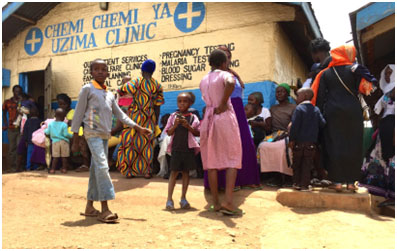 Patients wait at the Chemi-chemi Ya Uzima Clinic (Dew Drops of Wholeness Clinic), an all-service health care provider in the Kibera slum in Nairobi. It is owned and managed by the Christian Health Association of Kenya. - Photo:  kibera2kwale.wordpress.com