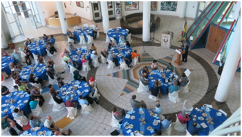 NAINConnect 2015 opened with a banquet set in a glass-teepee atrium, reaching more than six stories up and dominating the First Nations University of Canada building.