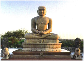 This statue of Mahavira (599-527 BCE), can be found in New Delhi, India. Mahavira is known as the founder of Jainism and the source of the notion of Anekantavada. – Photo:  Jainmuseum.com