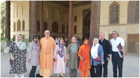 The team of religious leaders who visited Iran.Eight Americans were invited by the University of Religions and Denominations in Qom, for a conference: a Buddhist, Greg Snyder, two Hindus, Swami Atmarupananda and Swami Svatmavidyananda, a Christian Protestant seminary president, Serene Jones, a Benedictine Catholic nun, Sister Joan Chittister, and an Evangelical minister, Richard Cizik, joined by GPIW founder Dena Merriam and executive director Marianne Marstrand for a little over a week inside Iran.