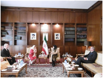 The group met with the wife of Iran Foreign Minister Mohammad Zarif. From the left, Greg Snyder, Dena Merriam, Maryam Zarif, and Richard Cizik.