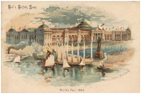 A postcard promoting the 1893 World's Columbia Exposition, where the World's Parliament of Religions was held. – Photo: Wolfsonian Library