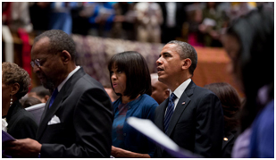 President and Mrs. Obama worshipping at an African Methodist Episcopal church in Washington, DC – Photo: Wikipedia, Pete Souza