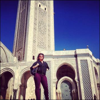 Ilona visiting the Hassan II mosque in Casablanca, Morocco