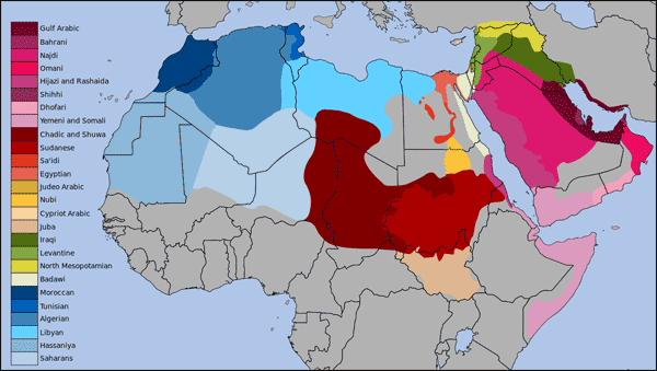 The different dialects of Arabic – Graphic: Wikipedia