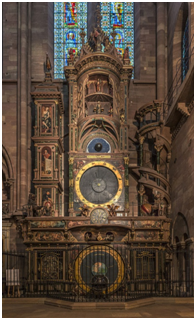 The Strasbourg Astronomical Clock in Alcase, France not only tells the time, but has a perpetual calendar, planetary dial, and marked the position of the sun, the moon, and eclipses. – Photo: Wikipedia Commons, Tangopaso