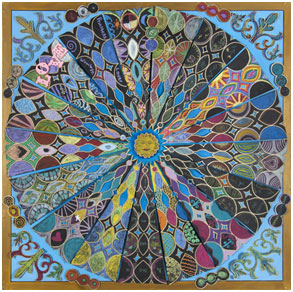 Alchemy Mandala (2011) and Alchemy 2 (2013), below, were each created by more than 100 women working together with Charlotte Backman, the artist who designed the process and anchored both creations.