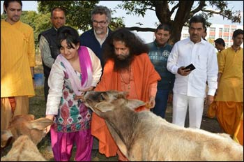 URI executive director Victor Kazanjian (in the glasses) with H.H. Swami Chidanand Saraswatiji, URI Global Council chair Kiran Bali, and URI UN representative Patrick Nickisch in Rishikesh, India. Here, they visit a cow care program with Project Hope, a disaster relief agency.