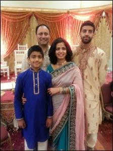 The Acharya family at a wedding.