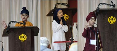 Youngsters speaking at the international competition on Sikh history and Gurbani. – Photo: SHF