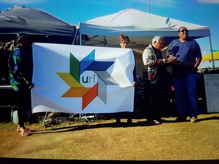 URI leaders visiting Standing Rock camp to share their document of support for the Standing Rock Sioux Tribe – Photo: URI