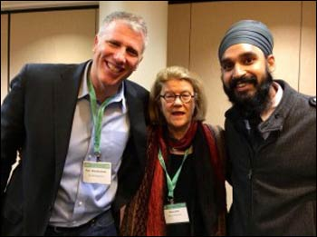 Paul Raushenbush and Diana Eck pose with SoF contributing scholar Simran Jeet Singh after State of Formation's first annual workshop at the American Academy of Religion. – Photo: SoF