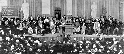 The platform at the 1893 World Parliament of Religions in Chicago