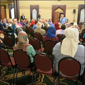 "The Islamic Center of America welcomed NAIN with a program about Islam and an extraordinary feast, graced with an interfaith panel addressing ""From Hate to Hope."" – Photo: TIO"