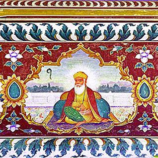 A fresco portraying Guru Nanak – Wikimedia, public domain