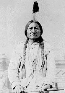 Chief Sitting Bull (c. 1831-1890), was a  Hunkpapa   Lakota  chief and  holy man . The Hunkpapa were part of the Great Sioux Nation, and Standing Rock was one of their homes. Sitting Bull is buried in the currently occupied land. – Photo: Wikipedia, public domain.