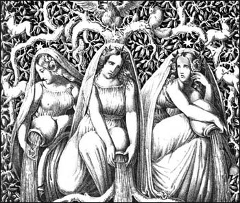An 1832 German Neopagan image of the three sisters, 'Norns,' of the Norse tradition, spinning the cosmos at the root of the World Tree – Photo: Wikipedia