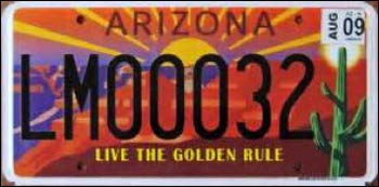 As Paul Eppinger's story indicates, this Arizona license plate has been a major source of income for the Arizona Interfaith Movement.