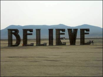 Laura Kimpton and Jeff Schomberg created the 'Believe' art-installation at Burning Man this year.