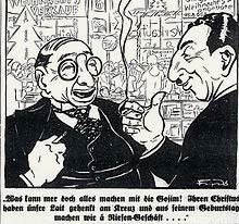 A caricature from the German anti-Semitic Der Stürmer, around Christmas 1929. It urged Germans to avoid buying from Jewish shops. Graphic: Wikimedia