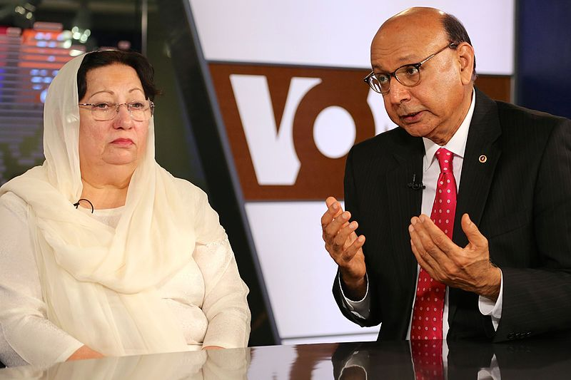 Khizr and Ghazala Khan, the parents of an Army captain killed in Iraq, speak with VOA ' s Urdu service in Washington, D.C., Aug. 1, 2016. – Photo: Wikimedia Commons, B. Allen, Voice of America