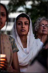 Harleen Dhillon attends a vigil at Cathedral Square Park in Milwaukee on Sunday night Aug. 5, 2013 after shooter Wade Michael Page killed 6 people at a local Sikh temple that morning. Photo: Lacy Landre, RNS