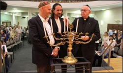 Then Cardinal Bergoglio (r.) participating at an interfaith event in Argentina.